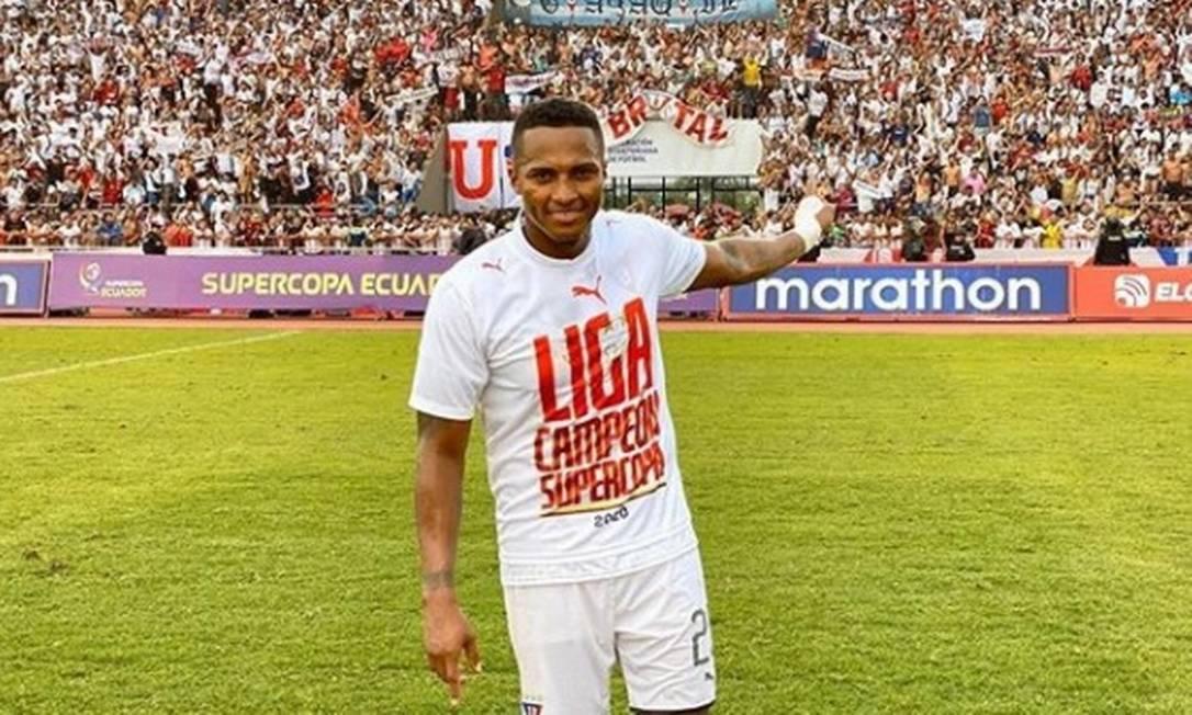 Valencia conquistou dois títulos pela LDU: a Copa do Equador e a Supercopa do Equador Foto: Divulgação