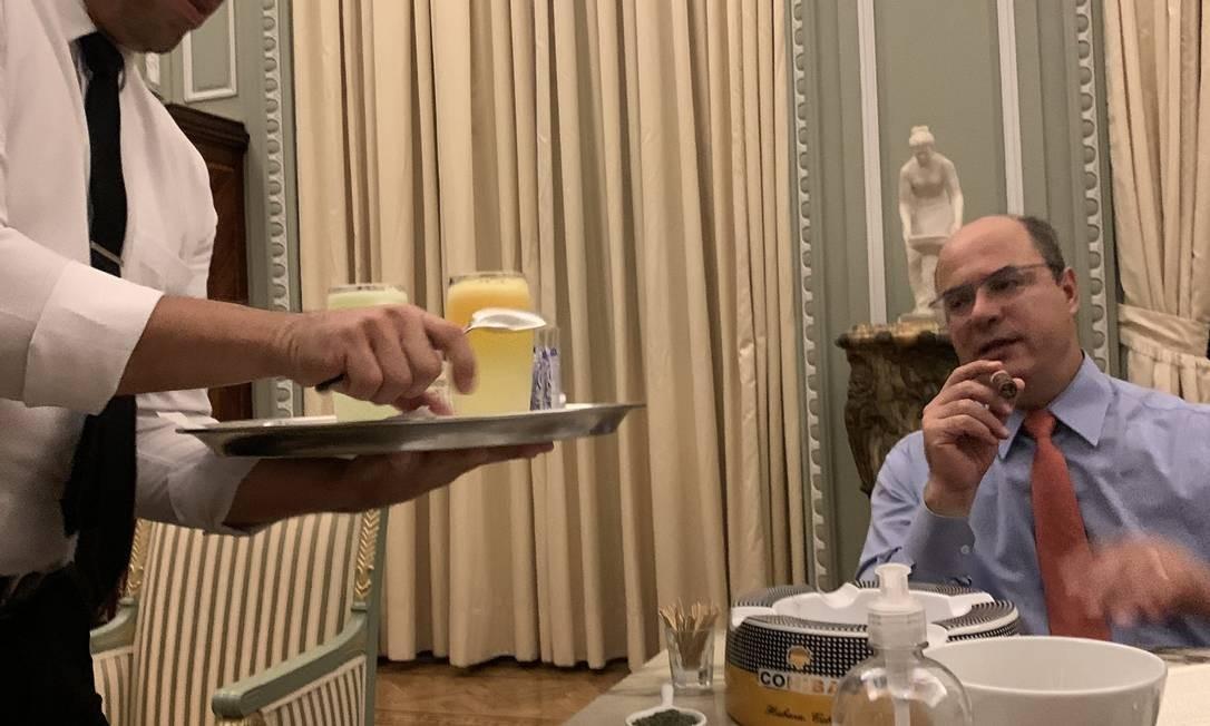 Governador afastado do Rio, Wilson Witzel, durante entrevista no Palácio Foto: Chico Otavio