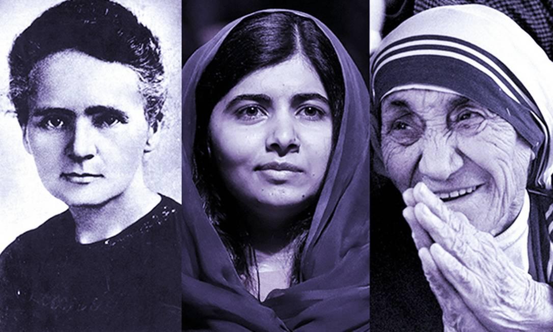 Marie Curie (à esquerda), Malala Yousafzai e Madre Teresa de Calcutá: trio faz parte dos 5% das mulheres premiadas com o Nobel desde 1901 Foto: Editoria de arte