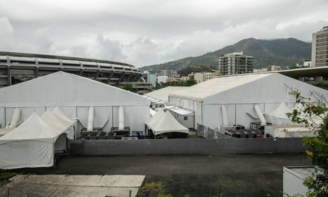 Hospital de campanha do Maracanã, de responsabilidade do estado, foi uma das duas unidades que entrou em funcionamento Foto: Brenno Carvalho em 16-8-2020 / Agência O Globo