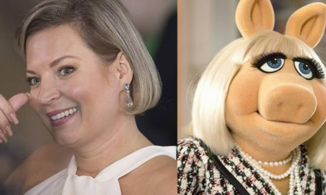 """Joice Hasselmann e a personagem de """"Os Muppets"""" que aparece em vários trechos do vídeo da campanha Foto: Edilson Dantas/Agência O Globo e Divulgação"""