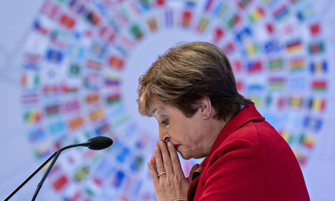 """A diretora-gerente do Fundo Monetário Internacional (FMI), Kristalina Georgieva advertiu que recuperação será """"longa, desigual e incerta"""" Foto: Andrew Harrer / Bloomberg"""