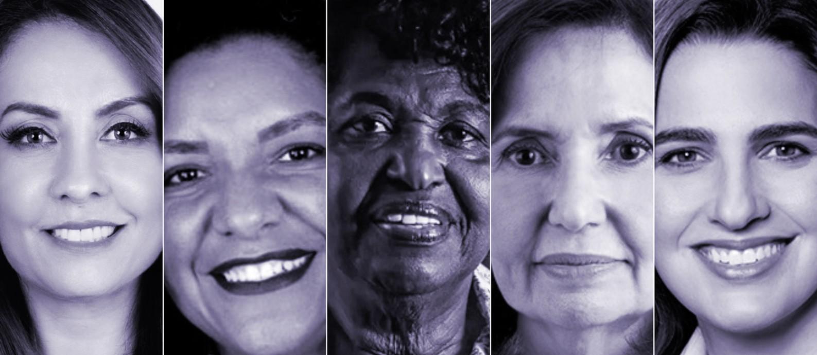 A partir da esquerda, as candidatas à prefeitura do Rio: Glória Heloíza (PSC), Renata Souza (PSOL), Benedita da Silva (PT), Martha Rocha (PDT) e Clarissa Garotinho (PROS) Foto: Arte