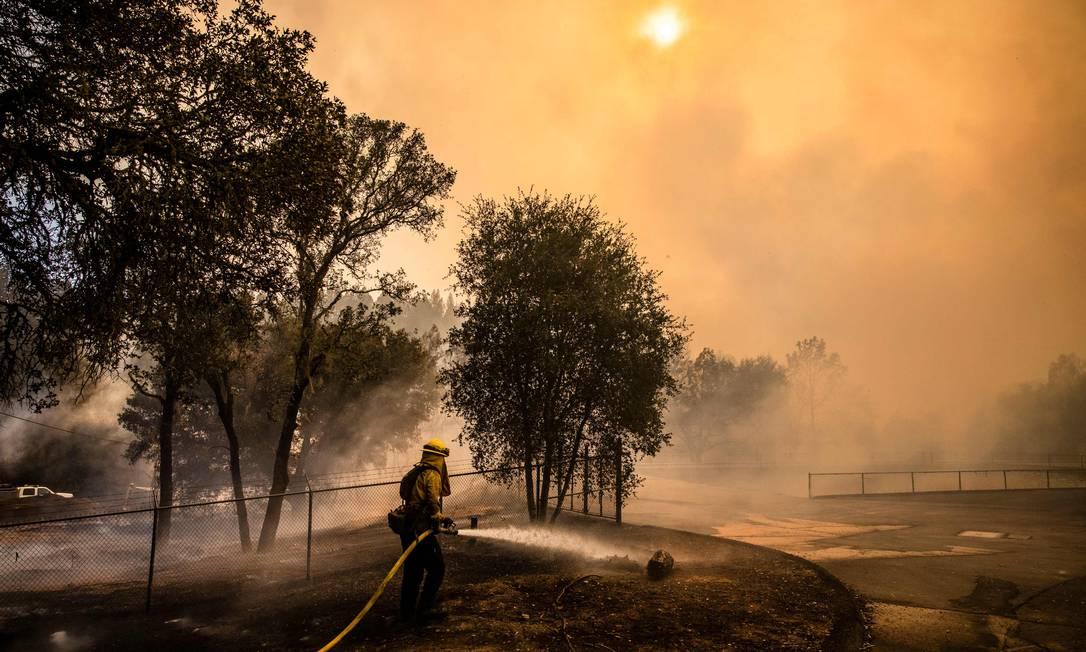 Brigadista apaga fogo em Napa Valley, na Califórnia: onda de calor contribuiu para a disseminação de queimadas Foto: SAMUEL CORUM/AFP/27-9-2020