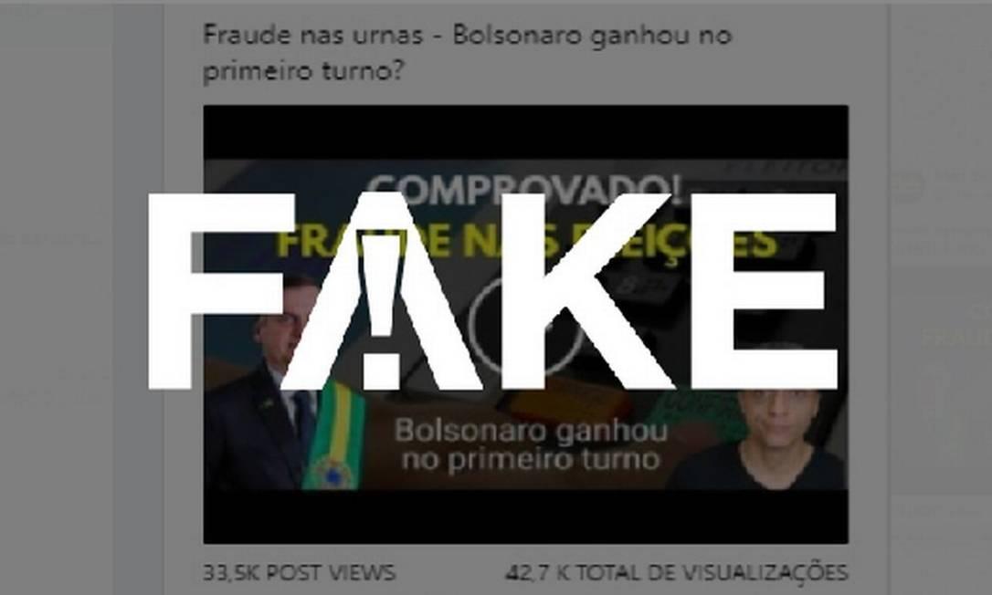 É #FAKE que denúncia de fraude em eleição de 2018 comprovou vitória de Bolsonaro no 1º turno Foto: Reprodução