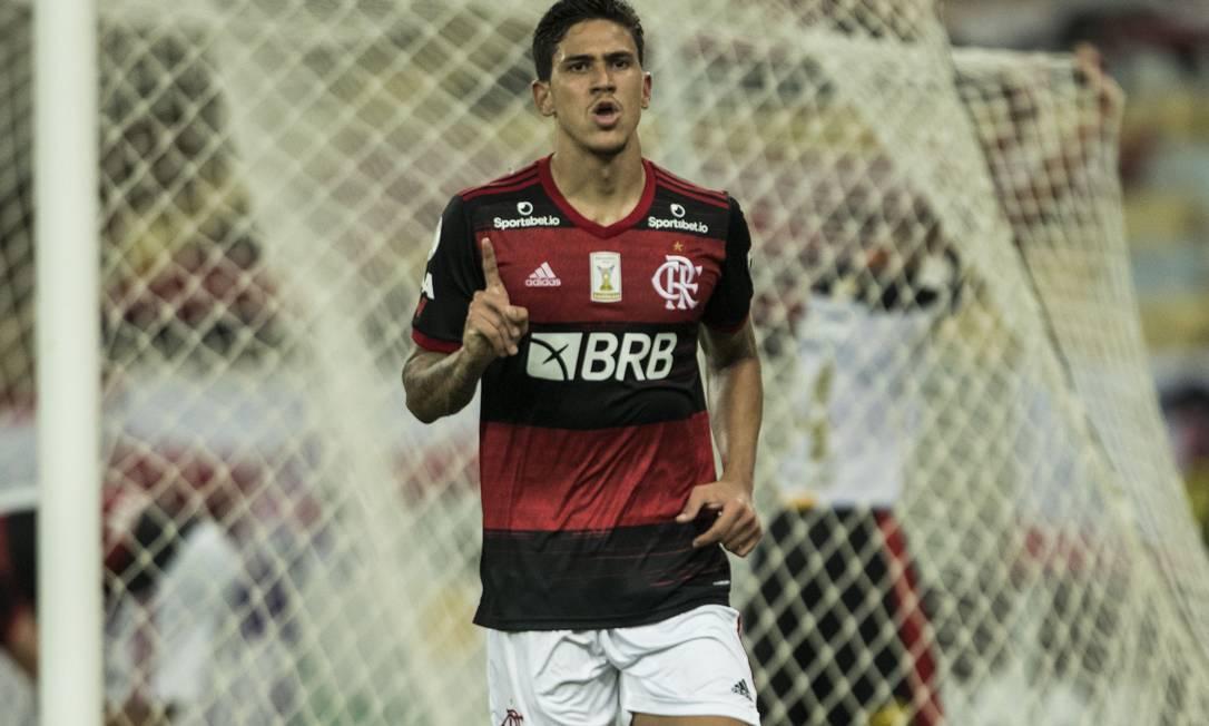 Pedro comemora gol pelo Flamengo sobre o Sport Foto: Guito Moreto / Agência O Globo