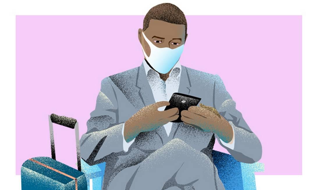 É preciso usar a máscara durante todo o tempo de permanência nas áreas comuns dos aeroportos Foto: André Mello / Editoria de Arte