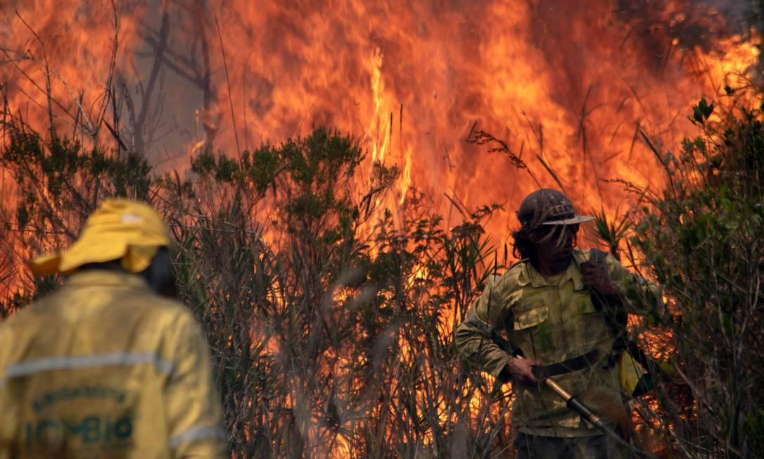 Integrantes do Corpo de Bombeiros do Instituto Chico Mendes de Conservação da Biodiversidade (ICMbio) combatem incêndio na região da Chapada Diamantina, no dia 7 de outubro de 2020 Foto: MATEUS MORBECK / AFP