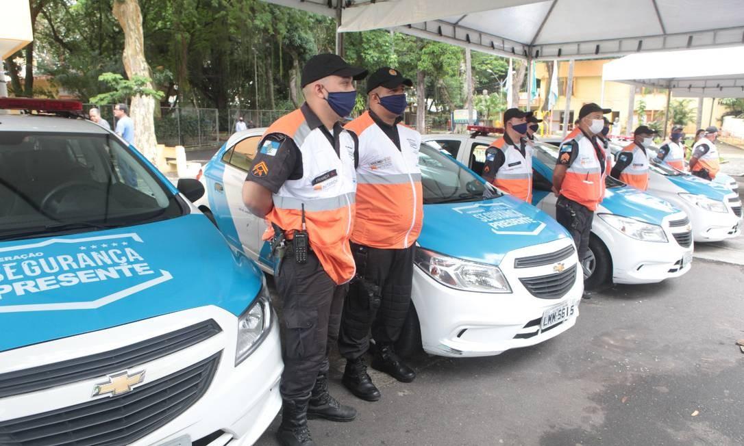 Apresentação do programa Niterói Presente no Barreto, em abril: lá são cerca de 25 agentes, que também patrulham o Fonseca. Foto: Divulgação / Prefeitura de Niterói