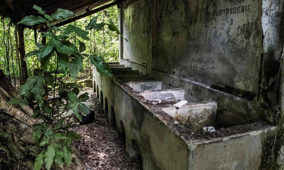 A antiga lavanderia da colônia penal da Ilha San Lucas, na Costa Rica Foto: Ezequiel Becerra / AFP
