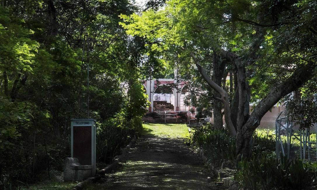 As ruínas da antiga prisão da Ilha San Lucas, na Costa Rica, surgem em meio à mata fechada Foto: Ezequiel Becerra / AFP