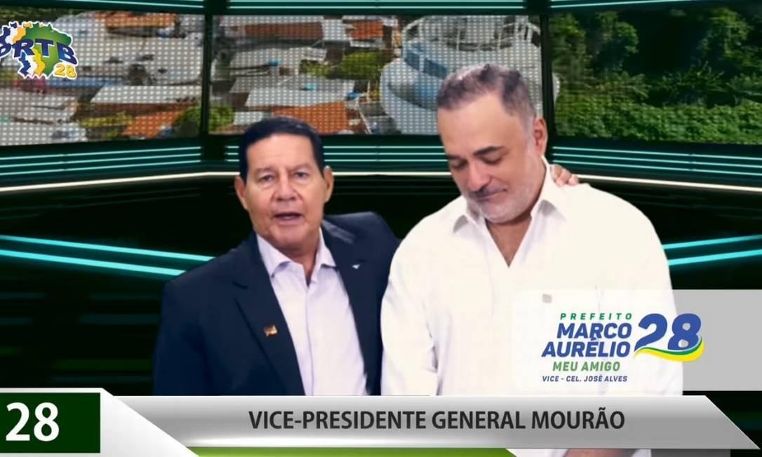 Mourão vira cabo eleitoral e faz campanha para Marco Aurélio, candidato do PRTB à Prefeitura do Recife Foto: Reprodução
