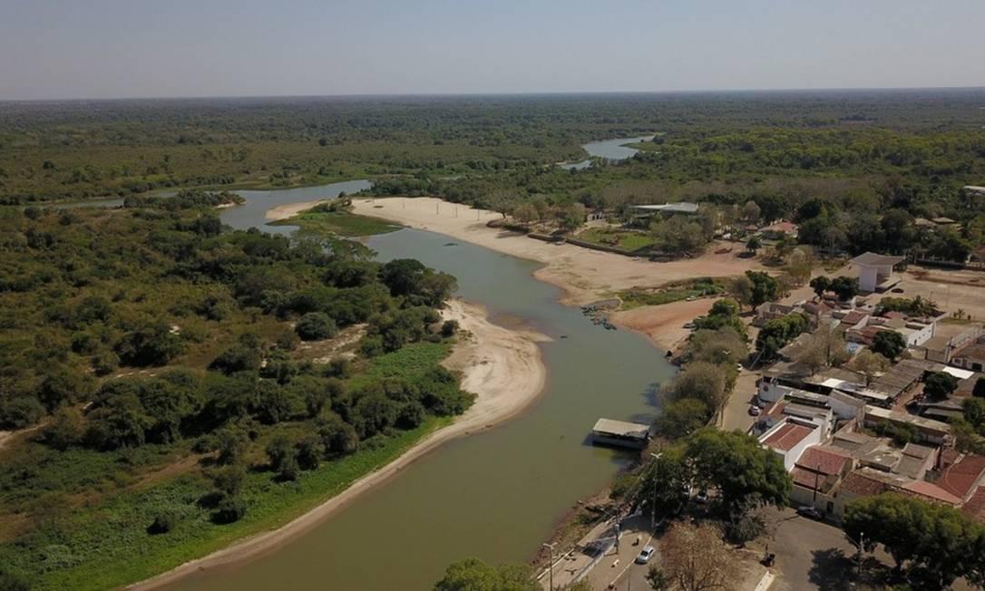 Cáceres, no Mato Grosso, enfrenta em outubro recordes de temperatura acima de 40ºC e sofre com a drástica redução do Rio Paraguai Foto: Ronivon Barros / G1