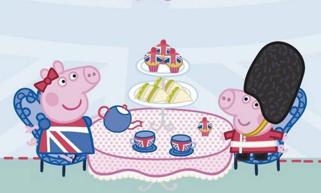 Peppa Pig e seu irmãozinho George tomam um típico chão da tarde britânico: personagem é a estrela de novo guia para viagens em família do Visit Britain Foto: Divulgação