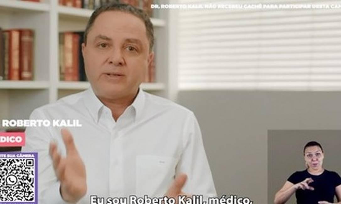 O médico Roberto Kalil em campanha do TSE com dicas para se proteger do coronavírus na eleição Foto: Reprodução da TV