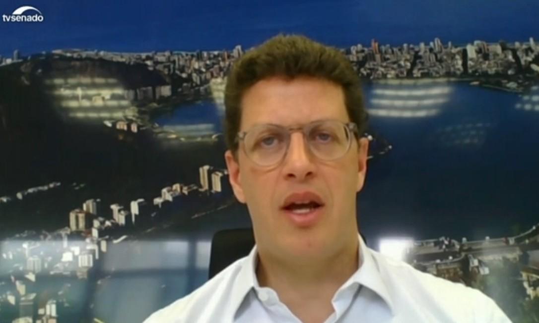 O ministro do Meio Ambiente, Ricardo Salles, participou de audiência pública do Senado por videoconferência Foto: Reprodução/TV Senado