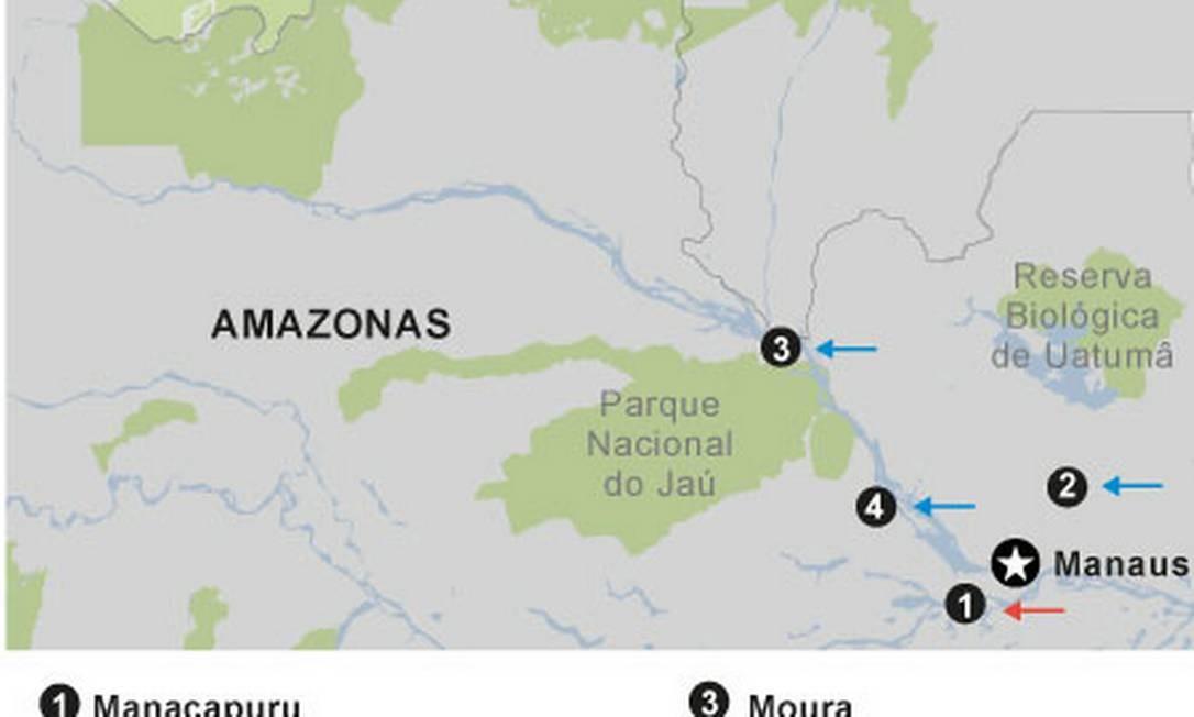 Mapa das manobras militares do Brasil na Amazônia Foto: Editoria de Arte