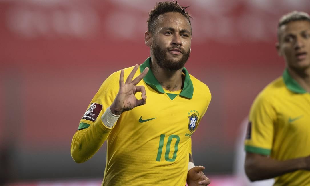 Neymar comemora o terceiro gol sobre o Peru: jogo teve afagos ao presidente Foto: Lucas Figueiredo/CBF