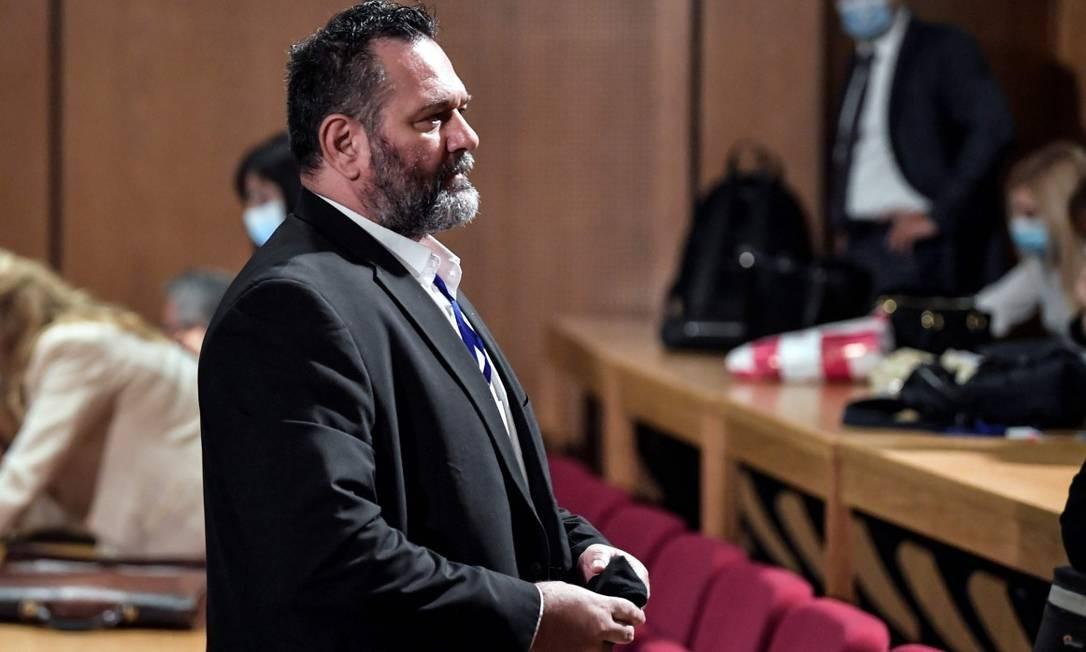 Eurodeputado Yiannis Lagos, um dos condenados a 13 anos de prisão por seu papel na organização criminosa Aurora Dourada Foto: LOUISA GOULIAMAKI / AFP