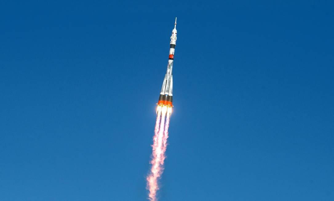 Foguete Soyuz MS-17 lançamento no Cosmódromo de Baikonur, Cazaquistão Foto: ANDREY SHELEPIN/GCTC/RUSSIAN SPA / via REUTERS