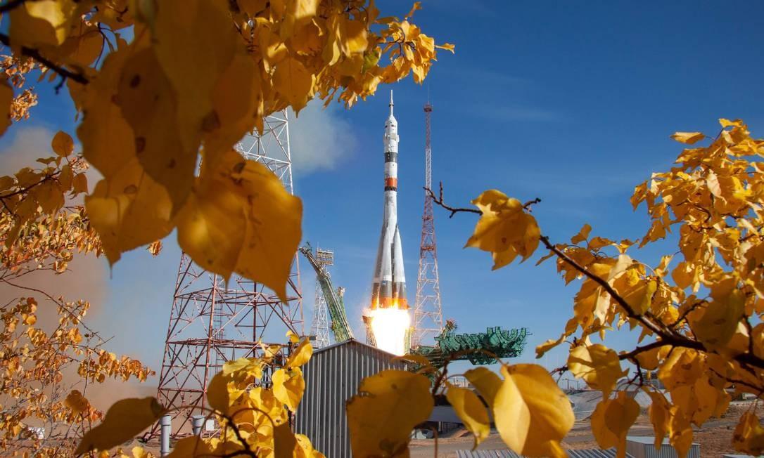 Lançamento a espaçonave Soyuz MS-17 no Cosmódromo de Baikonur, Cazaquistão Foto: HANDOUT / AFP