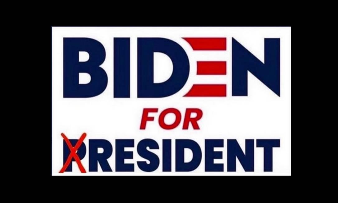 Slogan de Biden alterado e tuitado por Trump: presidente, de 74 anos, zomba da idade do adversário, de 77 Foto: Reprodução