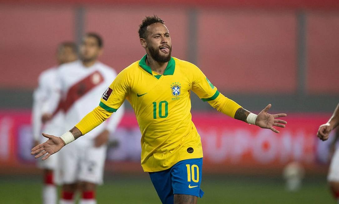 Neymar na vitória da seleção brasileira sobre o Peru Foto: Lucas Figueiredo/CBF