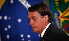 O presidente Jair Bolsonaro, durante cerimônia no Palácio do Planalto Foto: Pablo Jacob/Agência O Globo