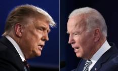 O presidente americano, Donald Trump, e o ex-vice Joe Biden concorrem à Presidência dos EUA Foto: JIM WATSON e SAUL LOEB / AFP