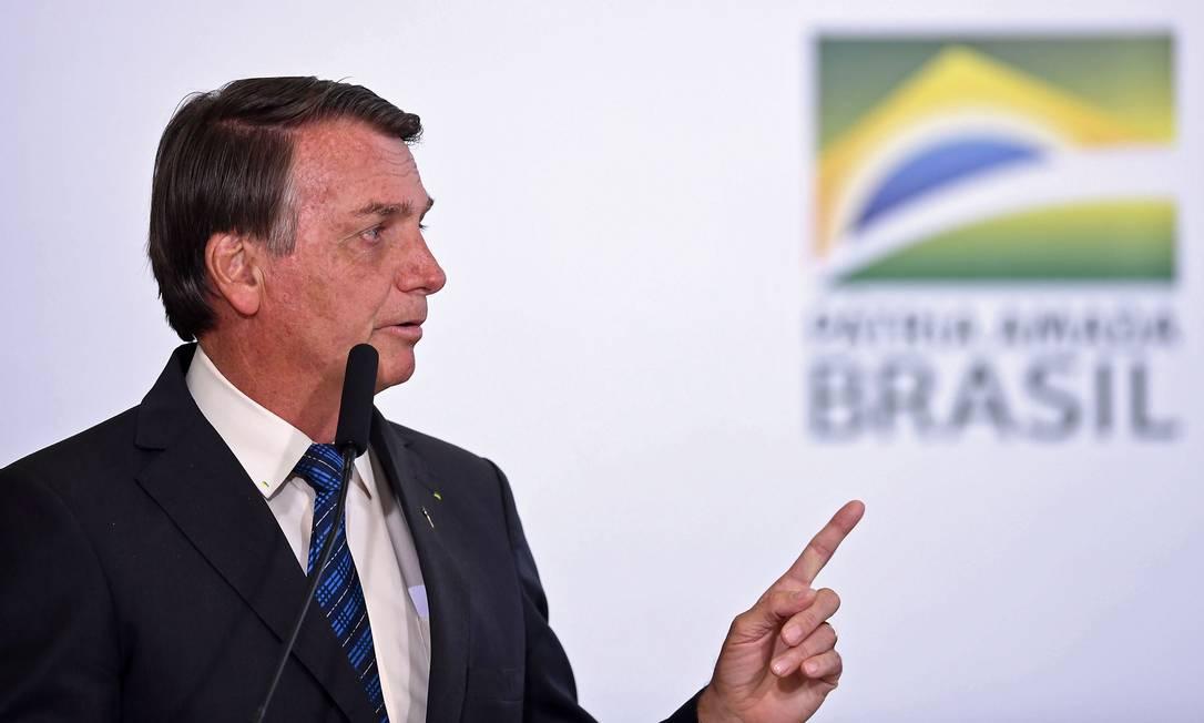 O presidente Jair Bolsonaro, durante cerimônia no Palácio do Planalto Foto: Evaristo Sá/AFP
