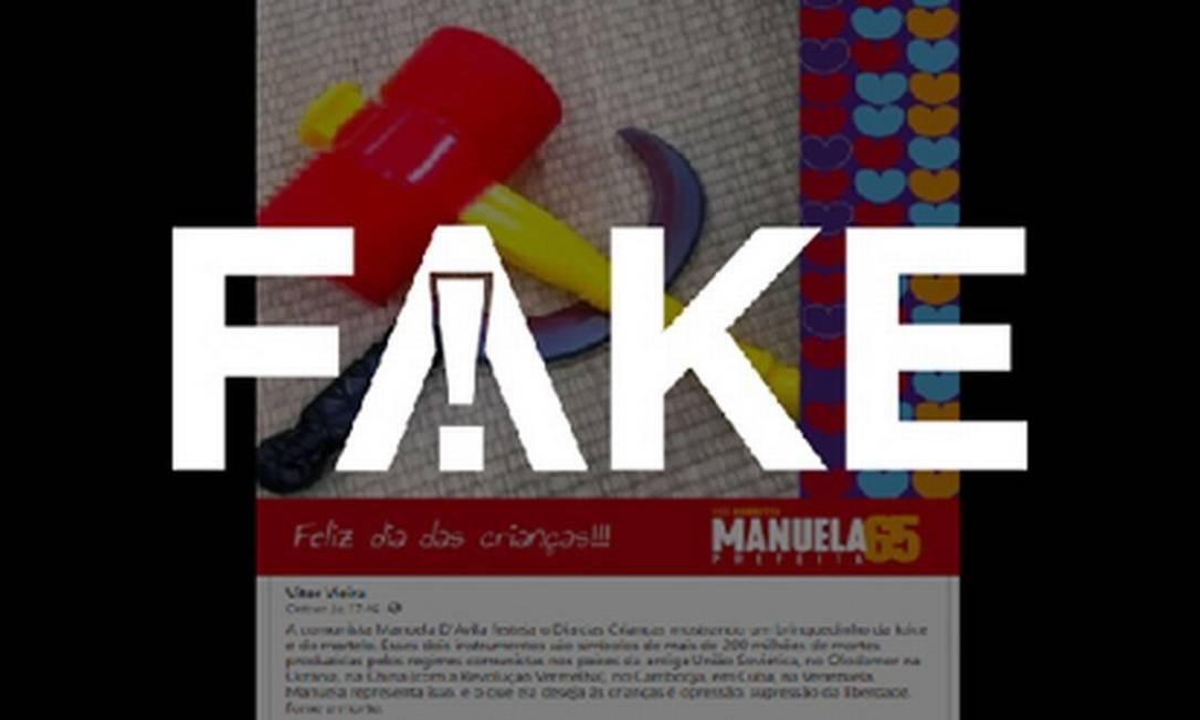 É #FAKE que Manuela D'Ávila fez peça de campanha no Dia das Crianças com foto de foice e martelo de brinquedo Foto: Reprodução