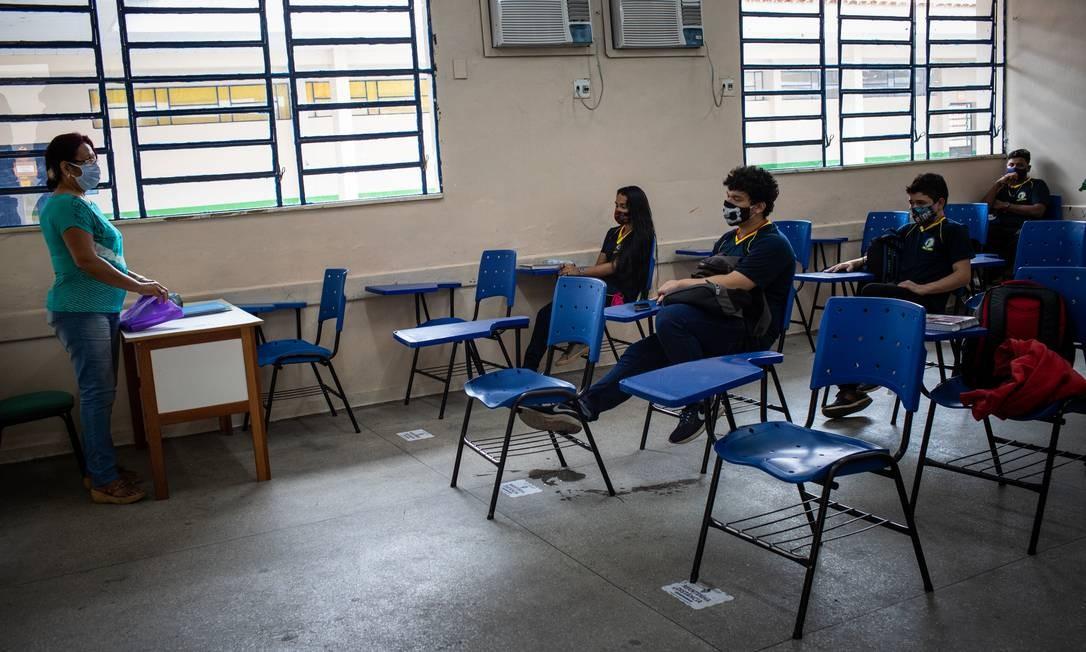 Amazonas foi o primeiro estado a retomar as aulas presenciais durante a pandemia da Covid-19, doença causada pelo novo coronavírus Foto: Raphael Alves / Agência O Globo