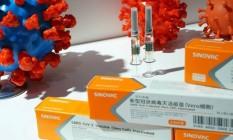 Estande exibe vacina CoronaVac, desenvolvida pelo laboratório chinês Sinovac, e candidata à imunização efetiva contra o novo coronavírus Foto: TINGSHU WANG / REUTERS