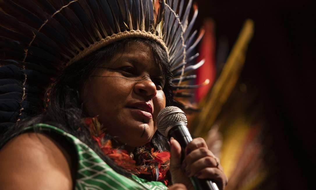 Sonia Guajajara: ativista organizou jornada indígena que passou por 12 países europeus em 2019 Foto: Gabriel Monteiro/4-6-2019
