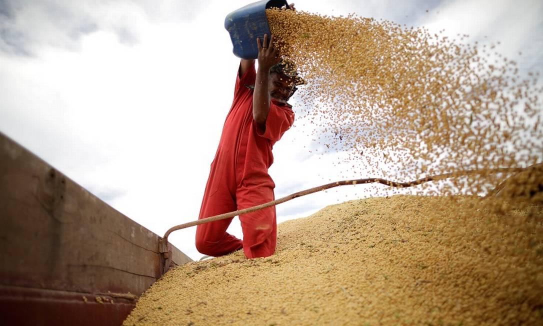 Embarques de produtos agropecuários, como soja, caíram 20,6% em outubro, devido à entrada da entressafra — a maior parte das exportações de bens agrícolas ocorreu até setembro Foto: Ueslei Marcelino / Reuters
