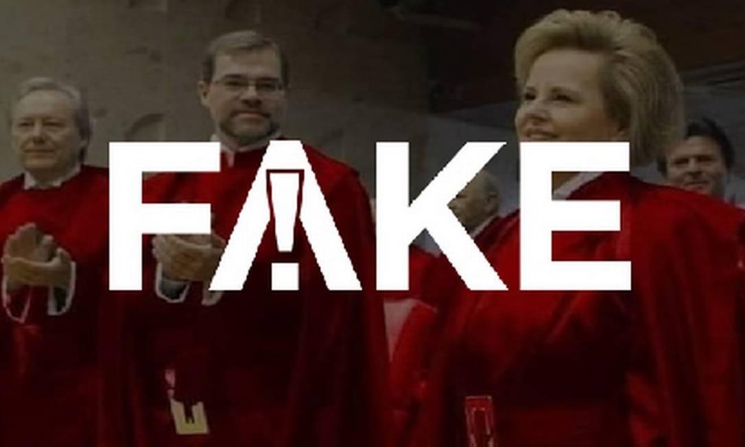 É #FAKE foto que mostra ministros do Supremo Tribunal Federal com toga vermelha Foto: Reprodução