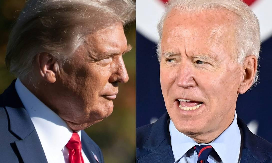 Donald Trump e Joe Biden. Candidatos seguem em campanha nesta sexta-feira Foto: AFP
