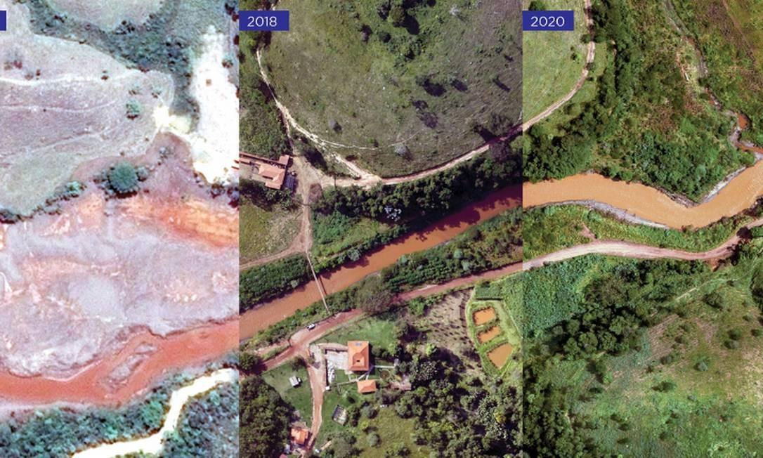 Rio Gualaxo do Norte, afluente do rio Doce e curso d'água mais atingido, recebeu ações de reparação Foto: Divulgação