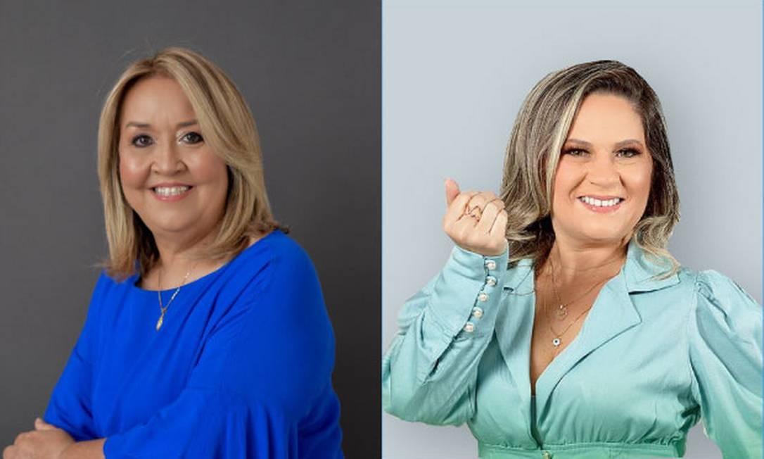 As candidatas a prefeita de São José do Brejo da Cruz: a prefeita Ana Maria (PL), e Kalinne Saraiva, do DEM (à esq.) Foto: Divulgação