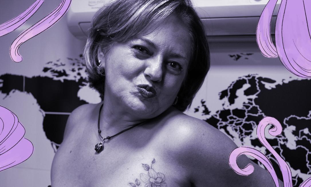 Em 2014, Silvia Lacerda, 56 anos, teve que retirar a mama esquerda por causa de um câncer. Três anos depois, colocou um implante de silicone e, no início deste ano, fez uma tatuagem florida para ressignificar a cicatriz: 'Era o que estava faltando' Foto: Arquivo Pessoal