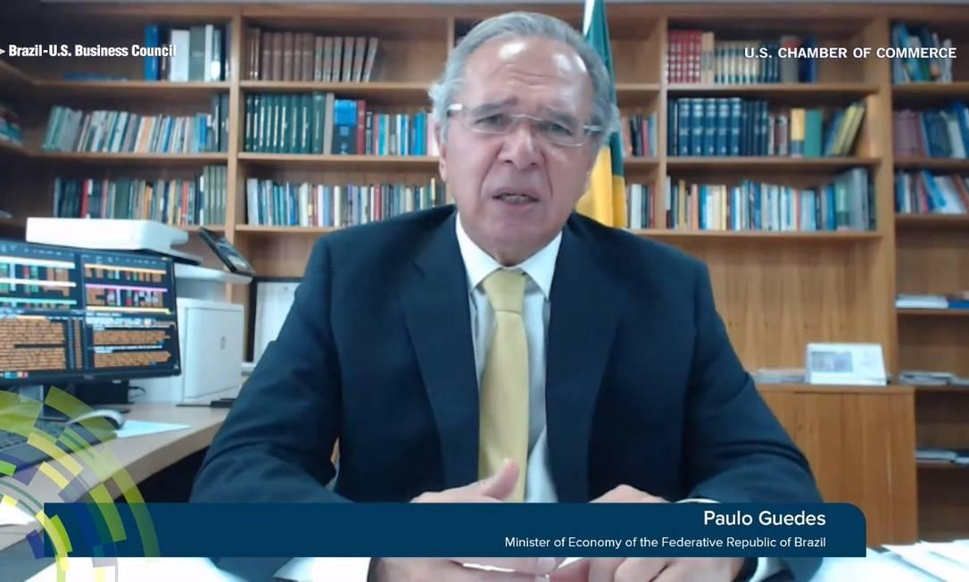 O ministro da Economia, Paulo Guedes, participa de evento da Câmara de Comércio Brasil-Estados Unidos Foto: Reprodução