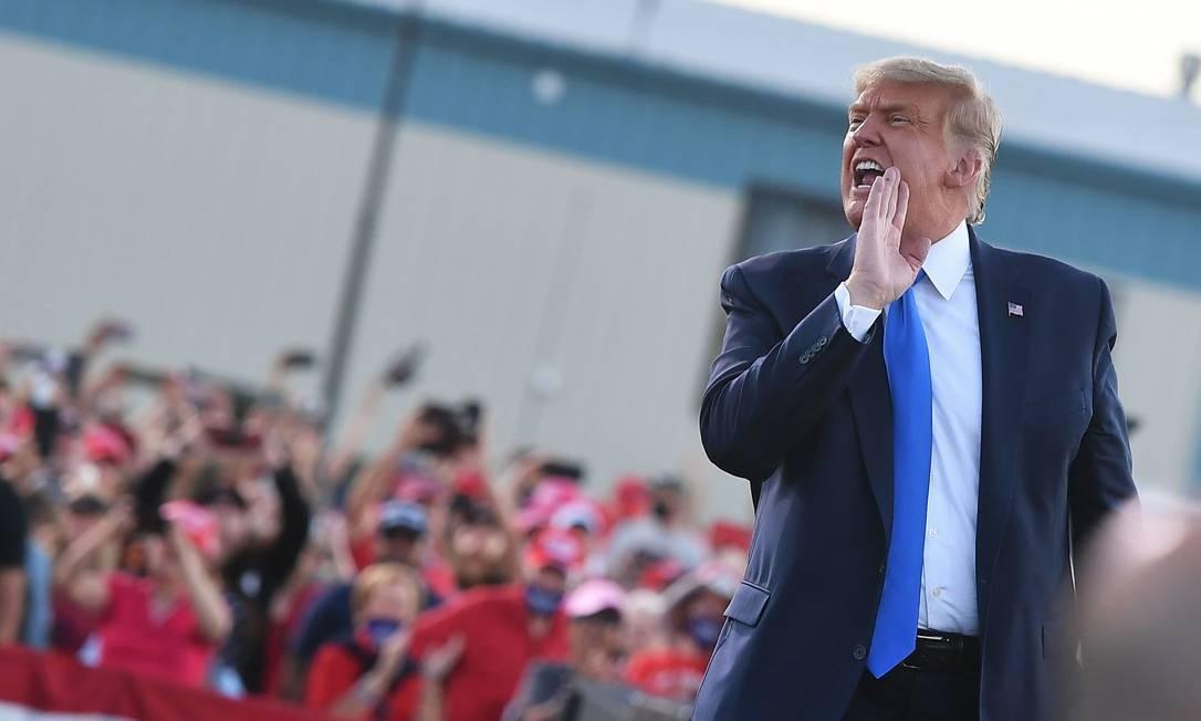 O presidente americano Donald Trump durante comícioem Carson City, Nevada, em 18 de outubro de 2020 Foto: MANDEL NGAN / AFP