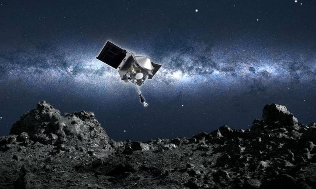 Na missão desta terça-feira, deverá ser realizada uma manobra chamada TAG, sigla para 'Touch-and-Go', em que a sonda rapidamente pousa e decola com poucos segundos de intervalo Foto: NASA