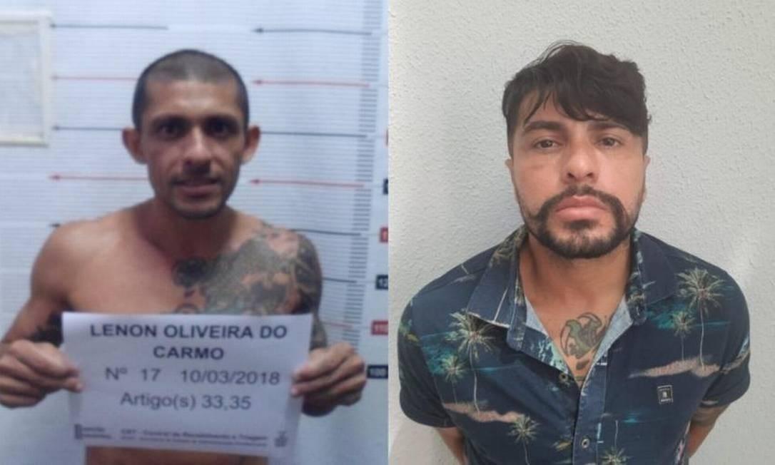 O traficante Lenon Oliveira do Carmo antes (à esq.) e depois (à dir.) dos procedimentos estéticos Foto: Divulgação/SSP-AM