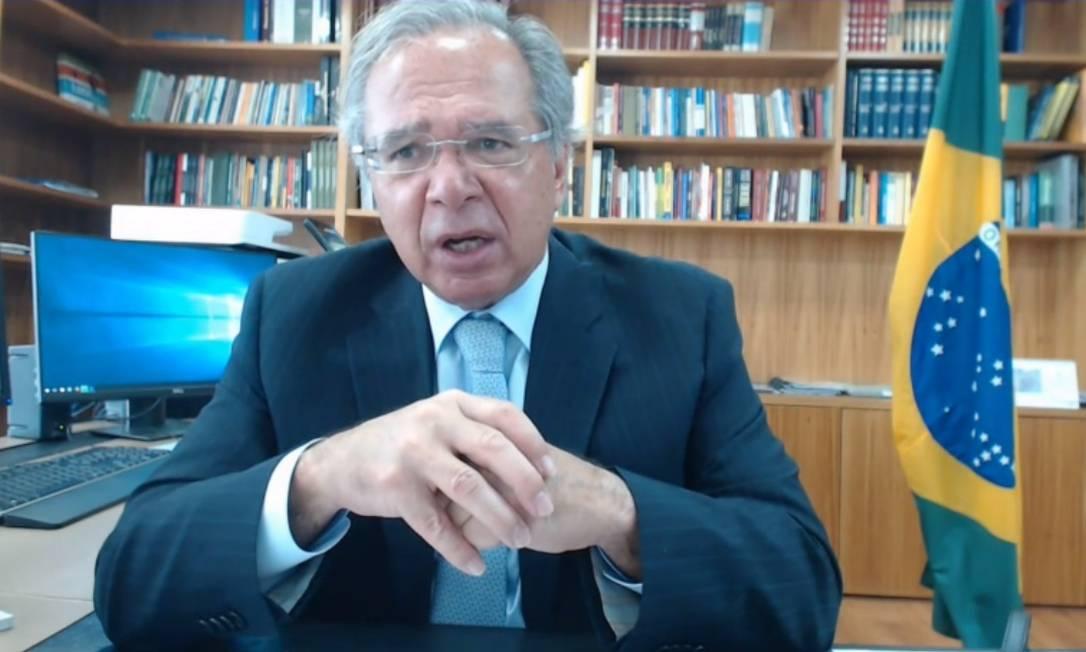 O ministro da Economia, Paulo Guedes, em conversa com investidores Foto: Reprodução