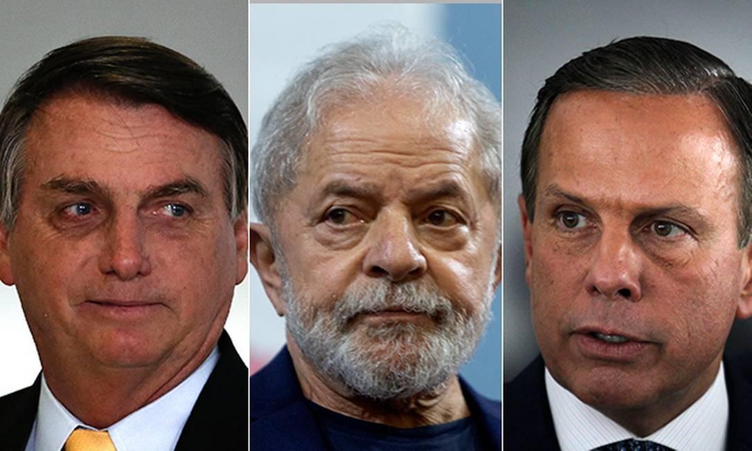 Bolsonaro, Lula e Doria vão entrar nas campanhas nas capitais na reta fibal do 1º turno Foto: Arquivo O GLOBO