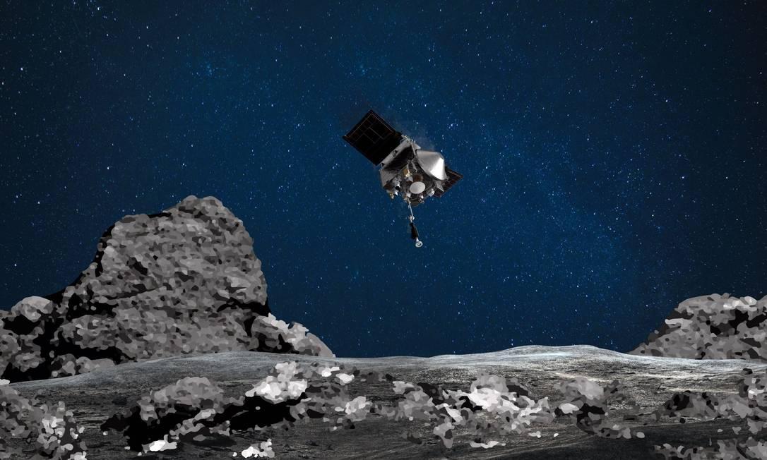 Ilustração da sonda Osiris-Rex descendo no asteroide Bennu, onde coletará dezenas de gramas de poeira em sua superfície: viagem até corpo celeste durou quatro anos Foto: NASA/Goddard/Arizona State University / AFP