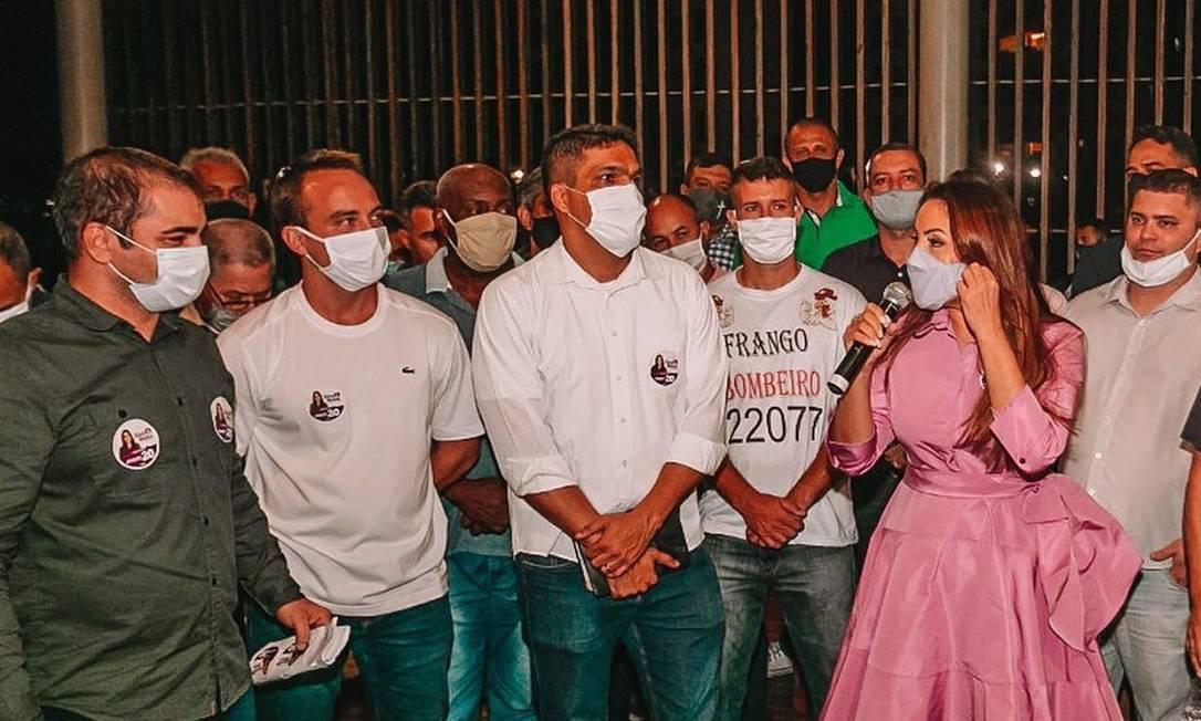 Glória Heloíza (PSC) discursa para apoiadores e correligionários Foto: Reprodução / Redes Sociais - 07/10/2020