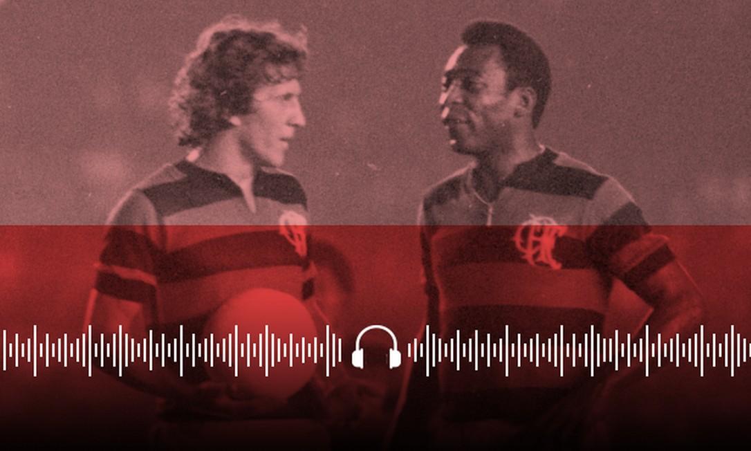 Zico e Pelé com a camisa do Flamengo Foto: Arte / O GLOBO