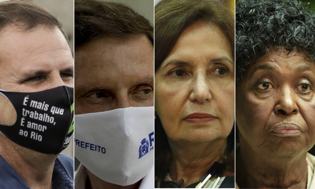 Eduardo Paes (DEM), Marcelo Crivella (Republicanos), Martha Rocha (PDT) e Benedita da Silva (PT), candidatos à prefeitura do Rio Foto: Montagem O GLOBO